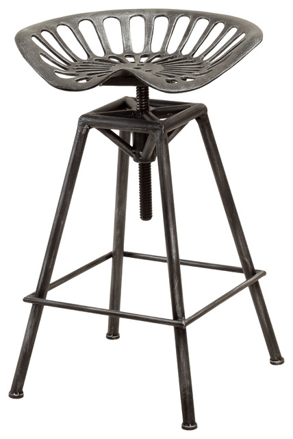 Charlie Bar Stool Black Brushed Silver industrial-bar-stools-and-counter  sc 1 st  Houzz & Charlie Bar Stool Black Brushed Silver - Industrial - Bar Stools ... islam-shia.org