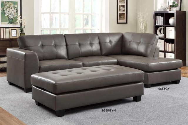 Homelegance modern small tufted grey leather sectional for Small tufted sofa
