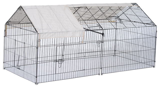 Pawhut 87 X41 Outdoor Covered Galvanized Metal Dog Kennel Playpen
