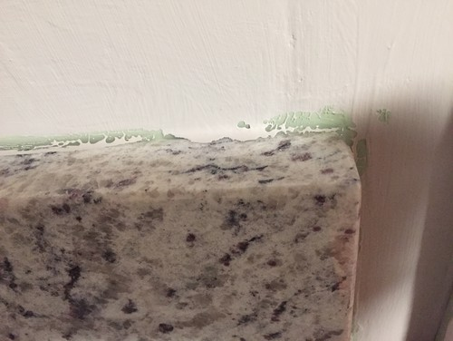 ... Of 4 Inch Granite Backsplash. Any Idea How To Get It Out Or Fix This?  Itu0027s Unpaintable, And Showing. My Husband Tried To Get It Out And Gouged  The Wall.