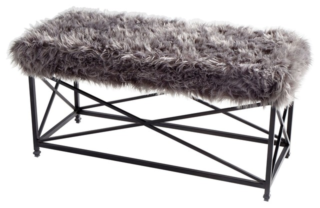 Ushanka Gray Faux Fur And Iron Bench.