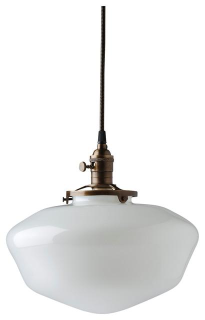 "12"" Schoolhouse Pendant Lighting White Milk Schoolhouse Globe."