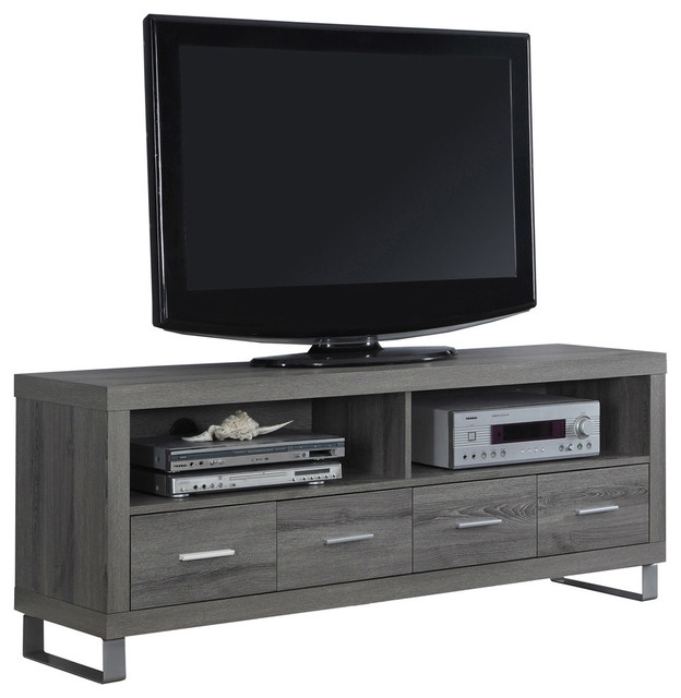 Gibraltar Tv Stand With 4 Drawers, Dark Taupe.