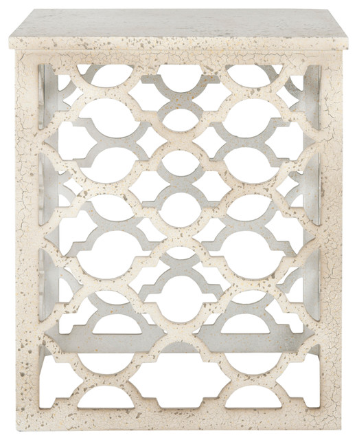 Lonny End Table, Distressed White.