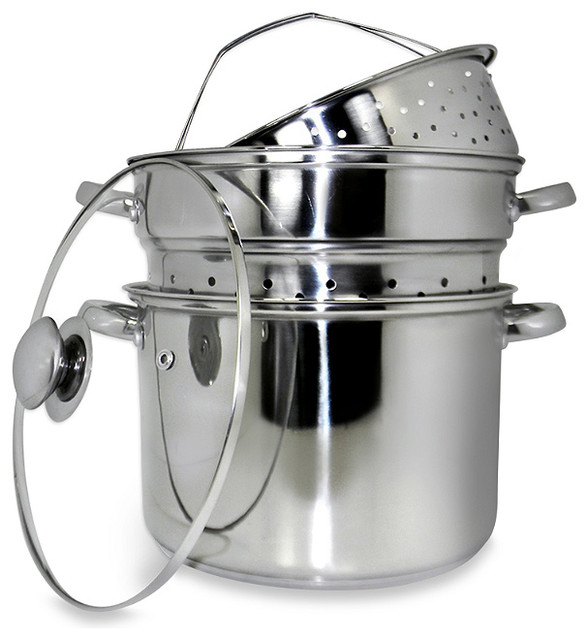 12 Quart 18/10 Stainless Steel Pasta Cooker With Encapsulated Base.