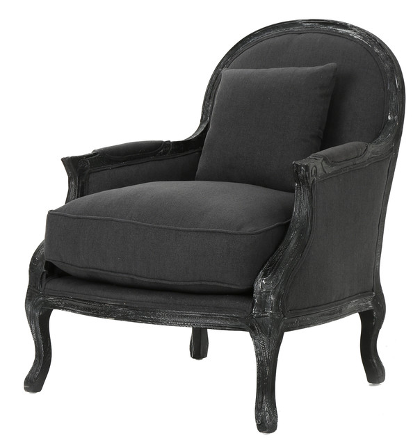 Nicolas Occasional Weathered Fabric Armchair With Black Legs, Dark Charcoal.