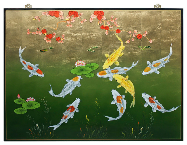 Koi Wall Décor In Gold Leaf : Houzz china furniture and arts gold leaf prosperity