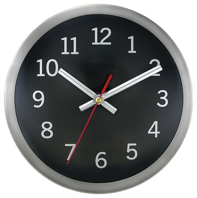 Timekeeper 9 Quot Brushed Metal Round Wall Clock Black Face