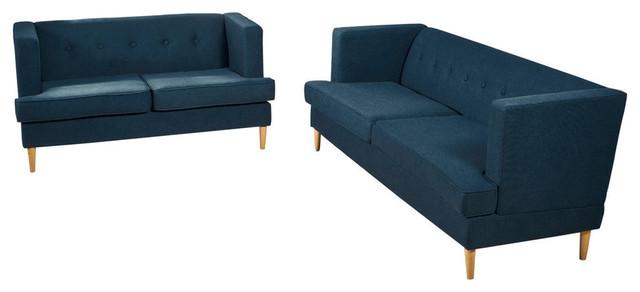 Wondrous Gdf Studio Milton Mid Century Modern Navy Blue Fabric Sofa And Loveseat Set Unemploymentrelief Wooden Chair Designs For Living Room Unemploymentrelieforg