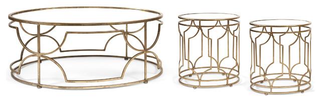 Elegant Ik Sherine Mirror Top Coffee Table U0026 2 End Tables   Set Of 3  Contemporary
