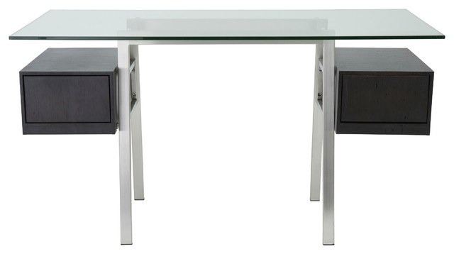 Euro Style Collette Collection Desk Frame in Brushed Stainless Steel