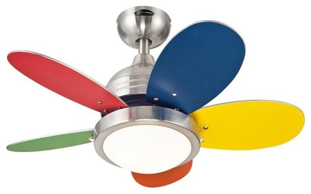 "Roundabout Fan, Brushed Nickel Reversible Blades With Light Fixture Included 30""."