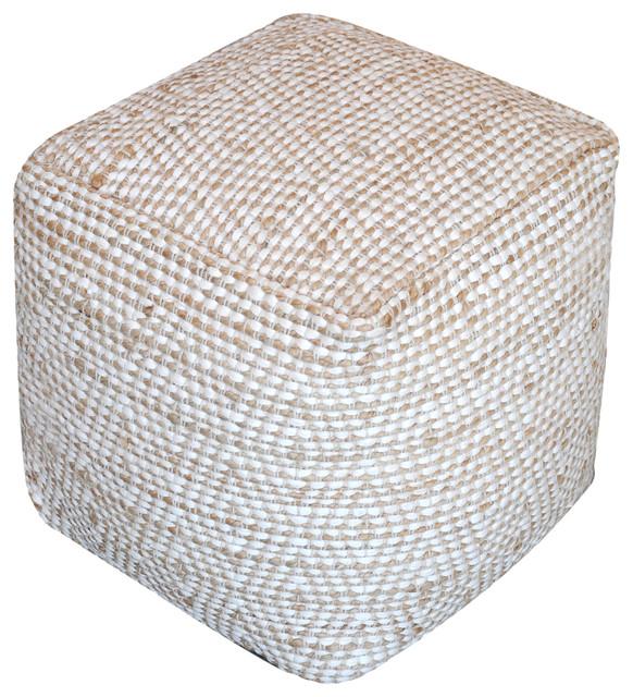 Maja Artisan Fabric Cube Pouf, Ivory.