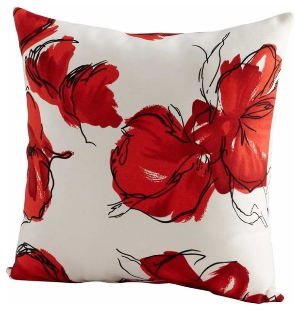 red poppy petal decorative pillow