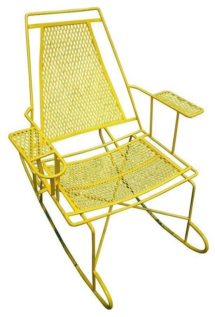 Pre Owned Vintage Metal Outdoor Rocking Chair Contemporary