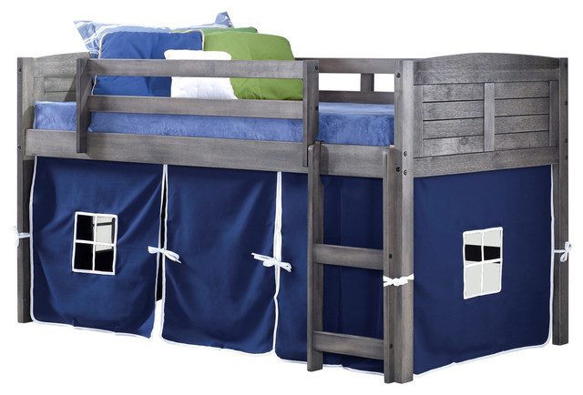 Donco Kids Howlitz Low-Loft Bed With Blue Tent, Twin.