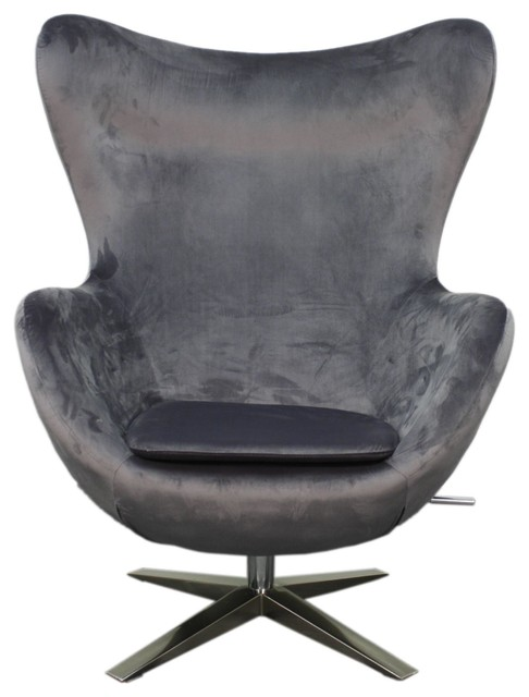 max fabric swivel rocker chair with chrome legs shadow gray