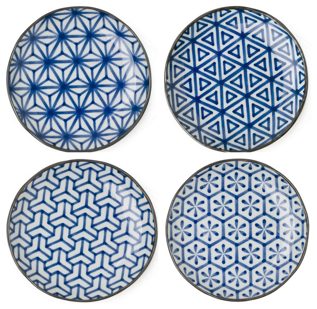 Japanese Blue u0026 White Geometric Print Ceramic Plates ...  sc 1 st  Houzz & Japanese Blue u0026 White Geometric Print Ceramic Plates Set of 4 ...
