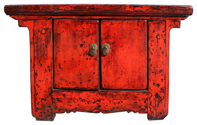 Distressed Chinese Red Low Console Table Cabinet cs2309 Asian