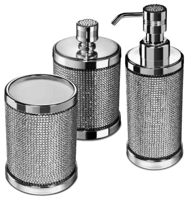 Starlight Bathroom Accessories Set With Swarovski 3 Piece Contemporary Accessory Sets By Agm Home