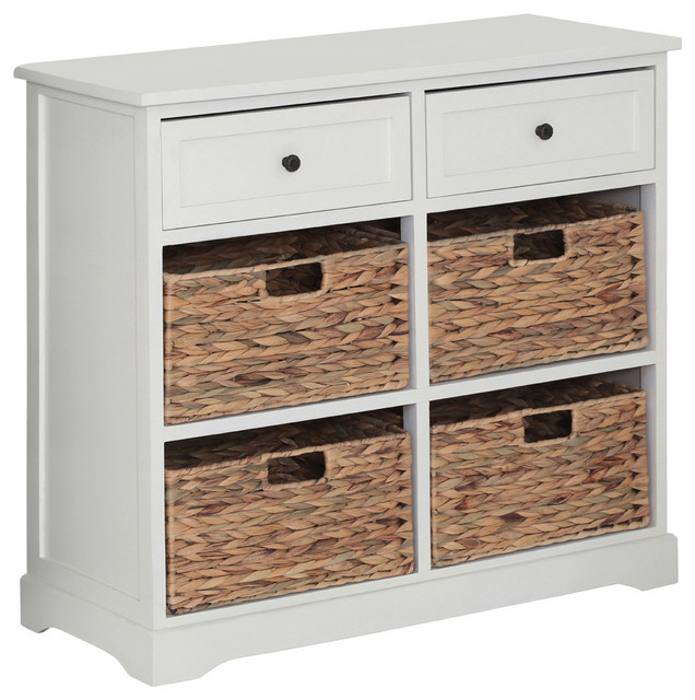 Vermont Cabinet, White, 2 Drawers And 4 Baskets.