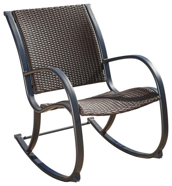 GDF Studio Leann Outdoor Dark Brown Wicker Rocking Chair