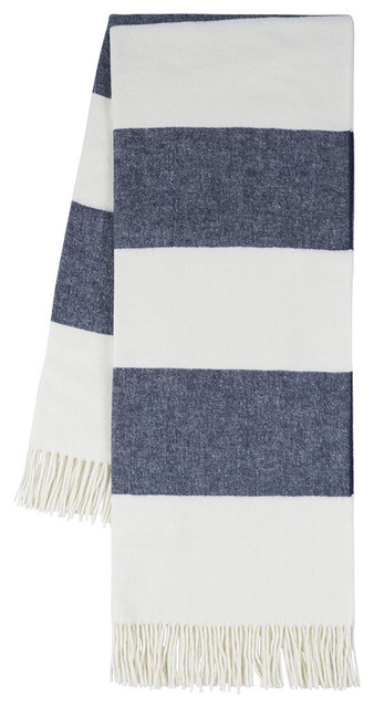 Rugby Stripe Throw, Navy