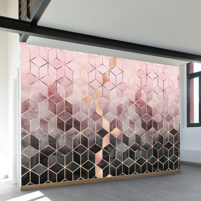 Pink Gray Gradient Cubes Wall Mural Contemporary