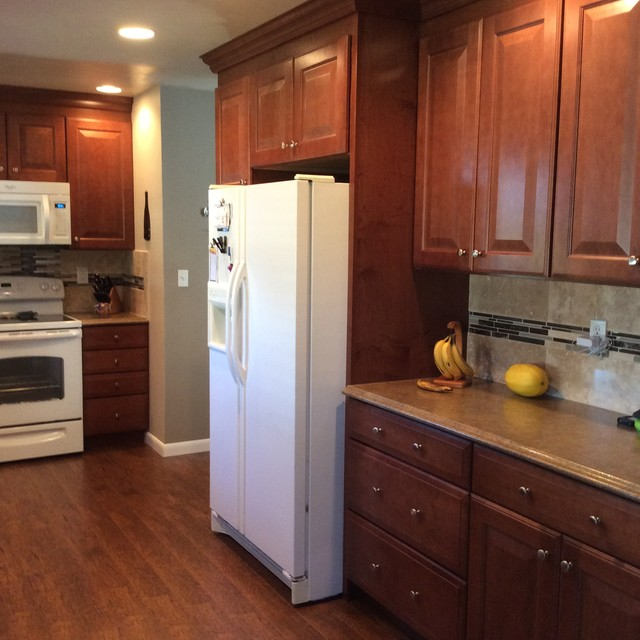 kitchen cabinets around refrigerator pantry and cabinet around refrigerator transitional 5911