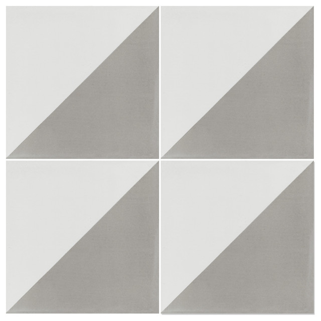 "7.9""x7.9"" Man Overboard Featherstone, White Hand-Crafted Cement Tiles, Set Of 12."