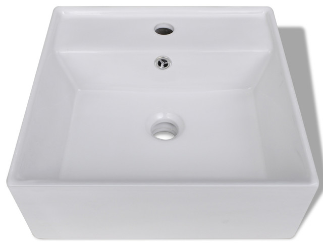Luxury Ceramic Basin Square With Overflow And Faucet Hole 16.1x16.1.