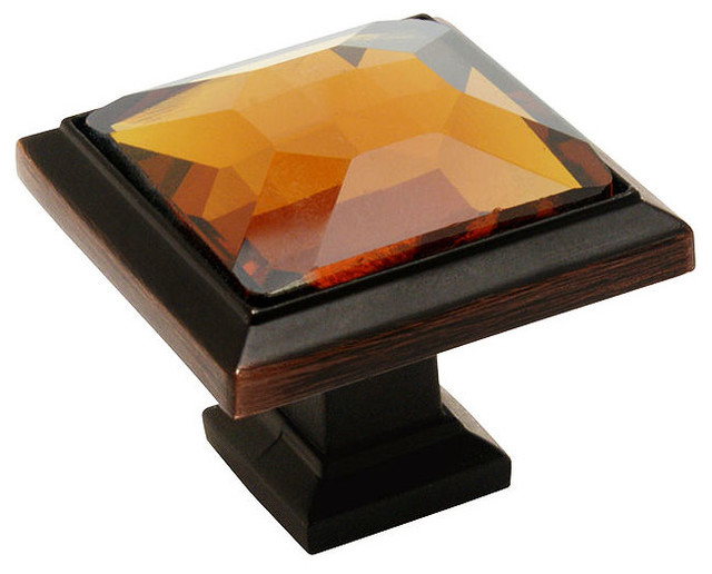 cosmas 5883orba oil rubbed bronze and amber glass square cabinet knob