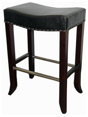 Antique Leather Saddle Stool Black 26 Counter Seat Height