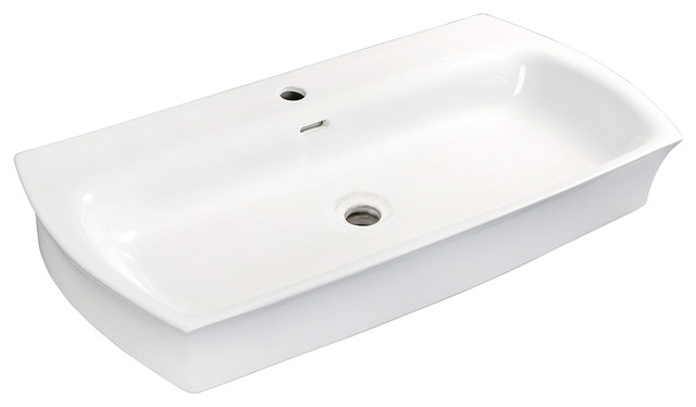 Fauceture Elongated Rectangular White Vessel Sink, 35 X 18.