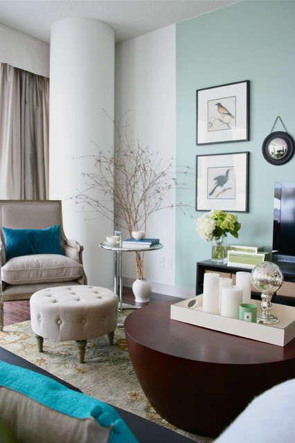 Pale turquoise and linen living-room