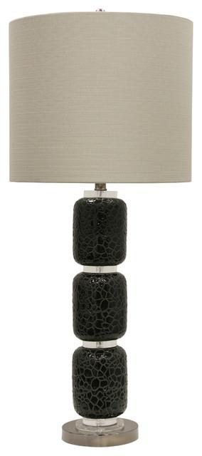 Jane Seymour, Corbita Ceramic Table Lamp, Black Finish, Beige Fabric Shade.
