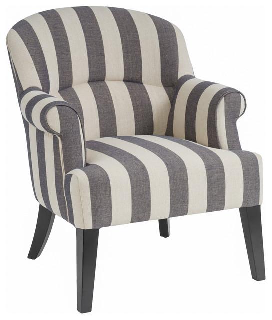 Drew Club Chair, Gray/Beige Stripe