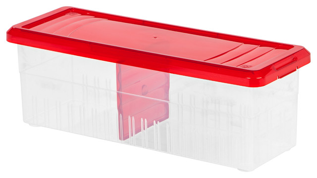 Holiday Ribbon Storage Box, Red Contemporary Storage Bins And Boxes