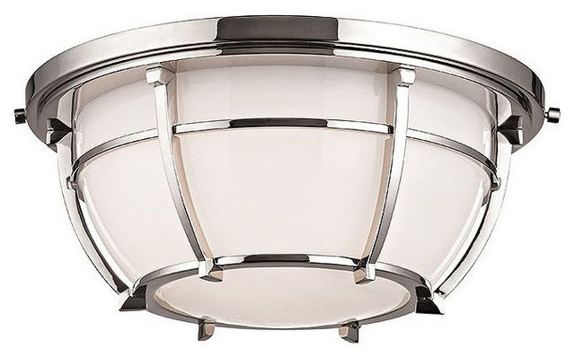 Hudson Valley Lighting Conrad 2-Light Flush Mount, Polished Nickel.