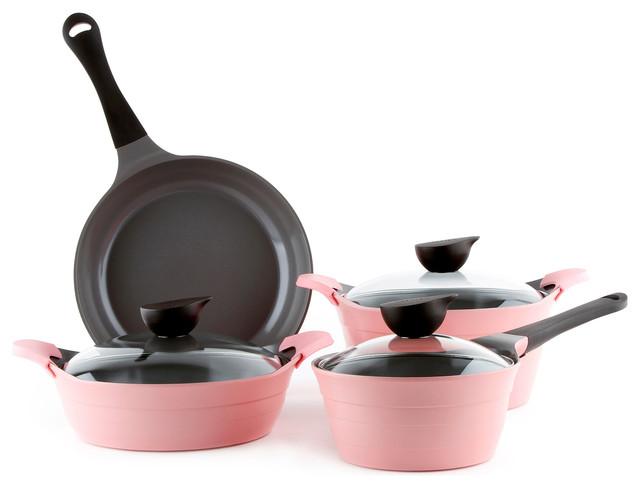 Neoflam 7 Piece Eela Cast Aluminum Cookware Set, Pink.
