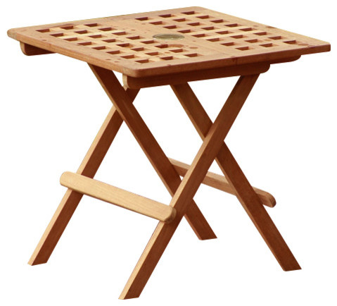 Teak Side Table With Umbrella Hole Transitional Outdoor Side