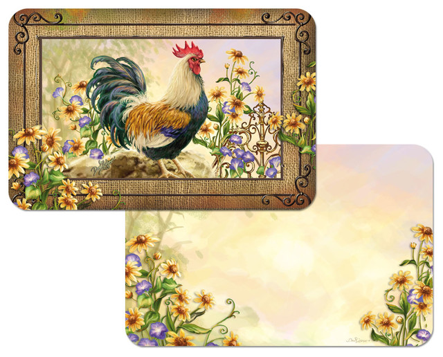Vinyl Plastic Placemats Reversible Country Charm Rooster Set of 4