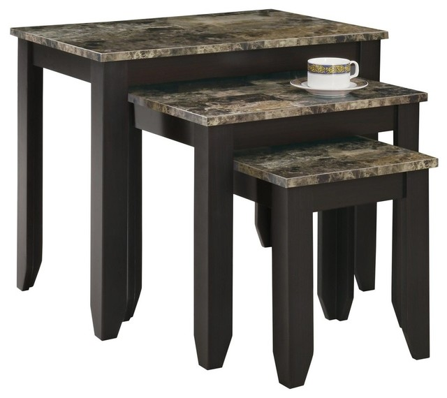 Nesting Table, 3-Piece Set, Cappuccino Marble Top.