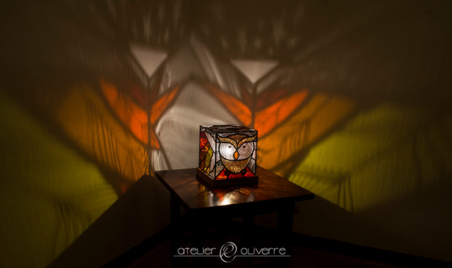 Lampe vitrail chouette - Stained glass owl lamp