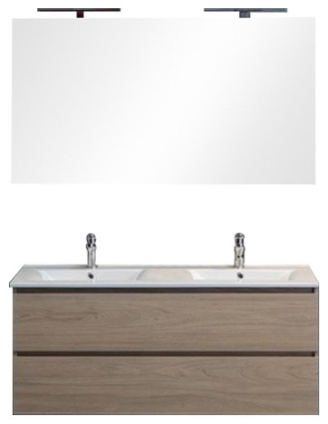 Berlin Wall-Mounted Vanity Unit With LED Mirror, 120 cm, Walnut