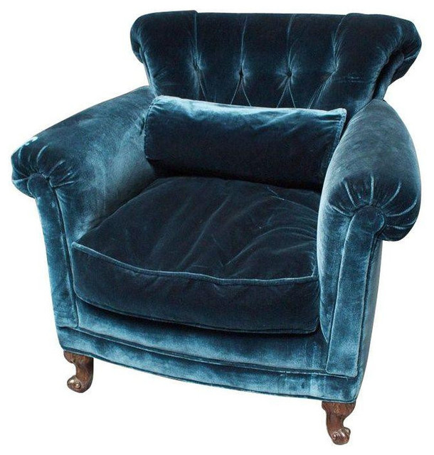 Peacock Blue Silk Velvet Club Chair   $1,650 Est. Retail   $850 On  Chairish.com