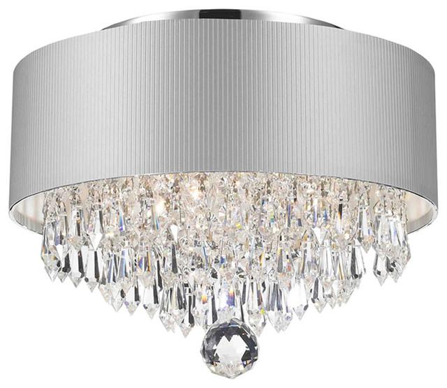 Gatsby 3 Light Chrome, Clear Crystal, Silver Shade Ceiling Light.