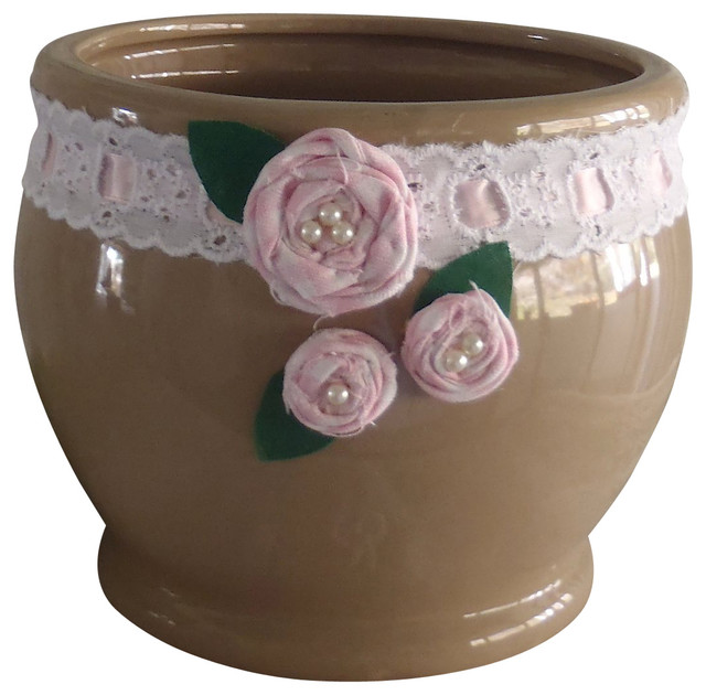 Shabby Ceramic Planter Traditional Indoor Pots And