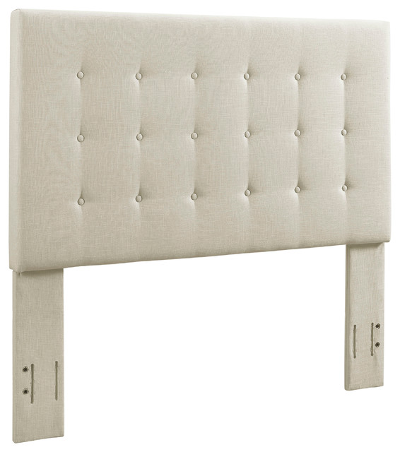 Reston Square Upholstered Headboard, Creme, King.