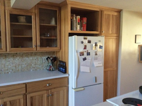 Light Or Dark Counters With Natural Hickory Cabinets